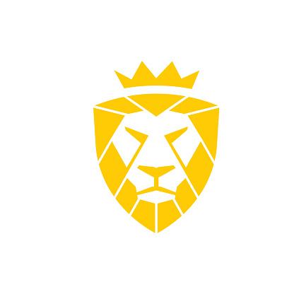 illustration lion king shield logo