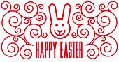 """Illustration logo """"Happy Easter"""" bunny and patterns"""