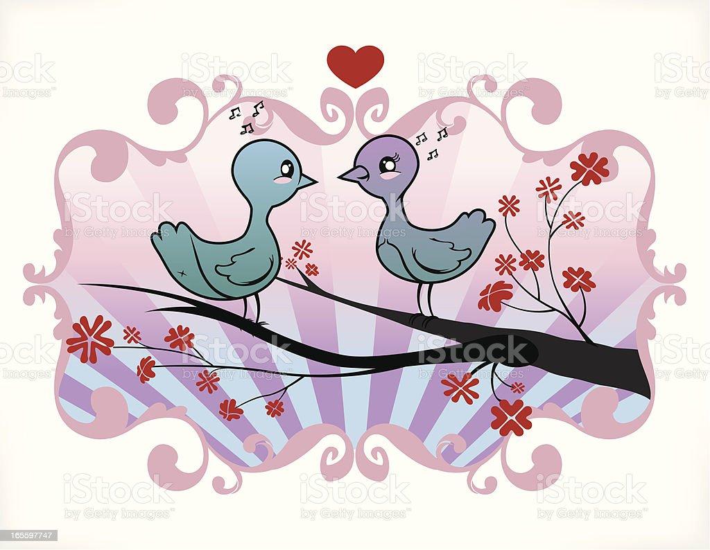 Amor aves na Ilustração de uma árvore de flor de cerejeira ilustração de amor aves na ilustração de uma árvore de flor de cerejeira e mais banco de imagens de amor royalty-free