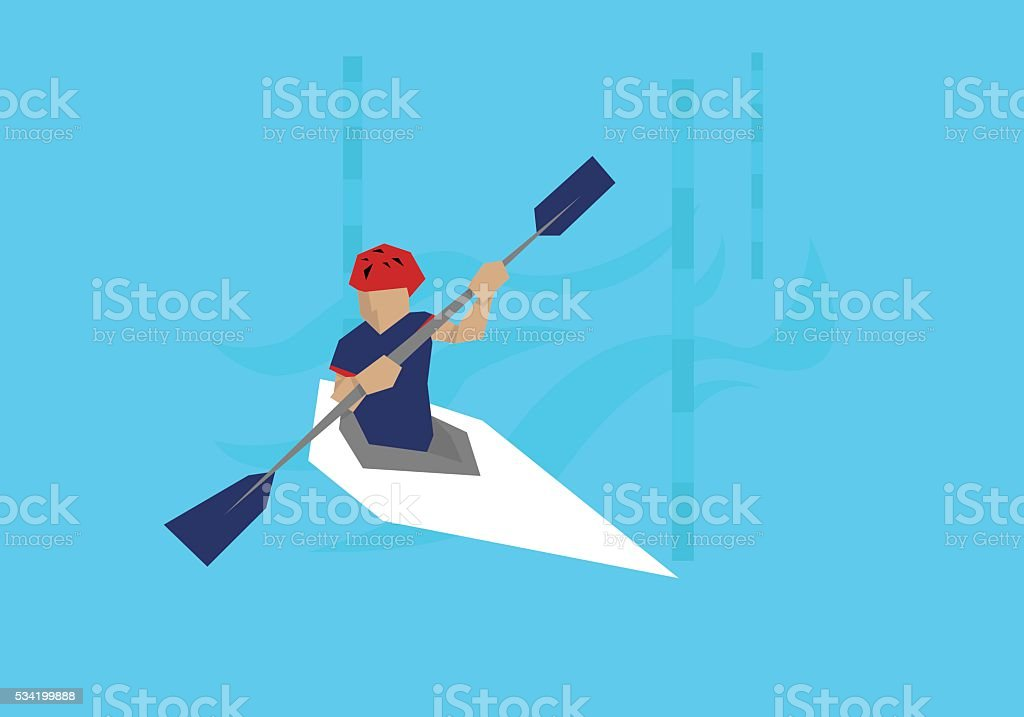 Illustration Male Canoeist Competing In Kayak Event vector art illustration