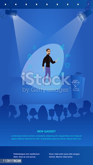 Illustration Man Presents to Public New Gadget. Banner Vector Group People Watching Guy with Glasses Stage in Spotlight. Presentation New Function, Security, Smart, Technological New, Personalization