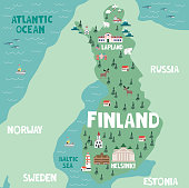 Illustration map of Finland with nature, animals and landmarks. Editable Vector illustration