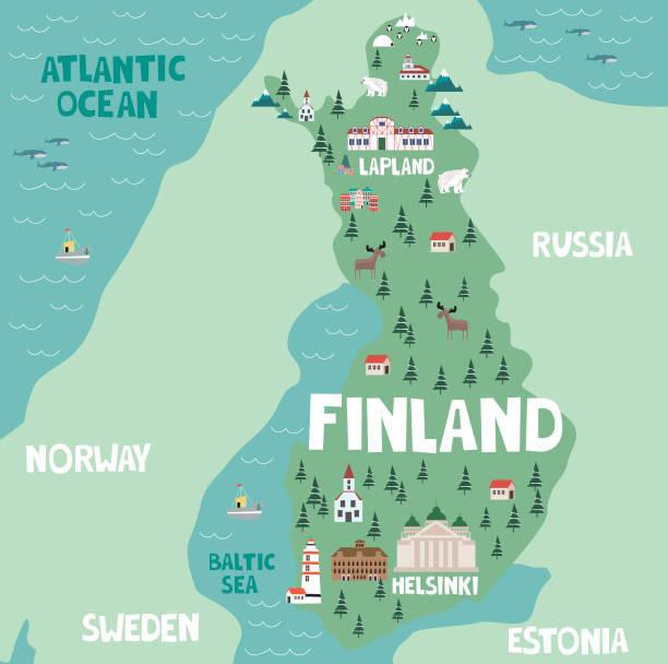 bildbanksillustrationer, clip art samt tecknat material och ikoner med illustration karta över finland - norrbotten
