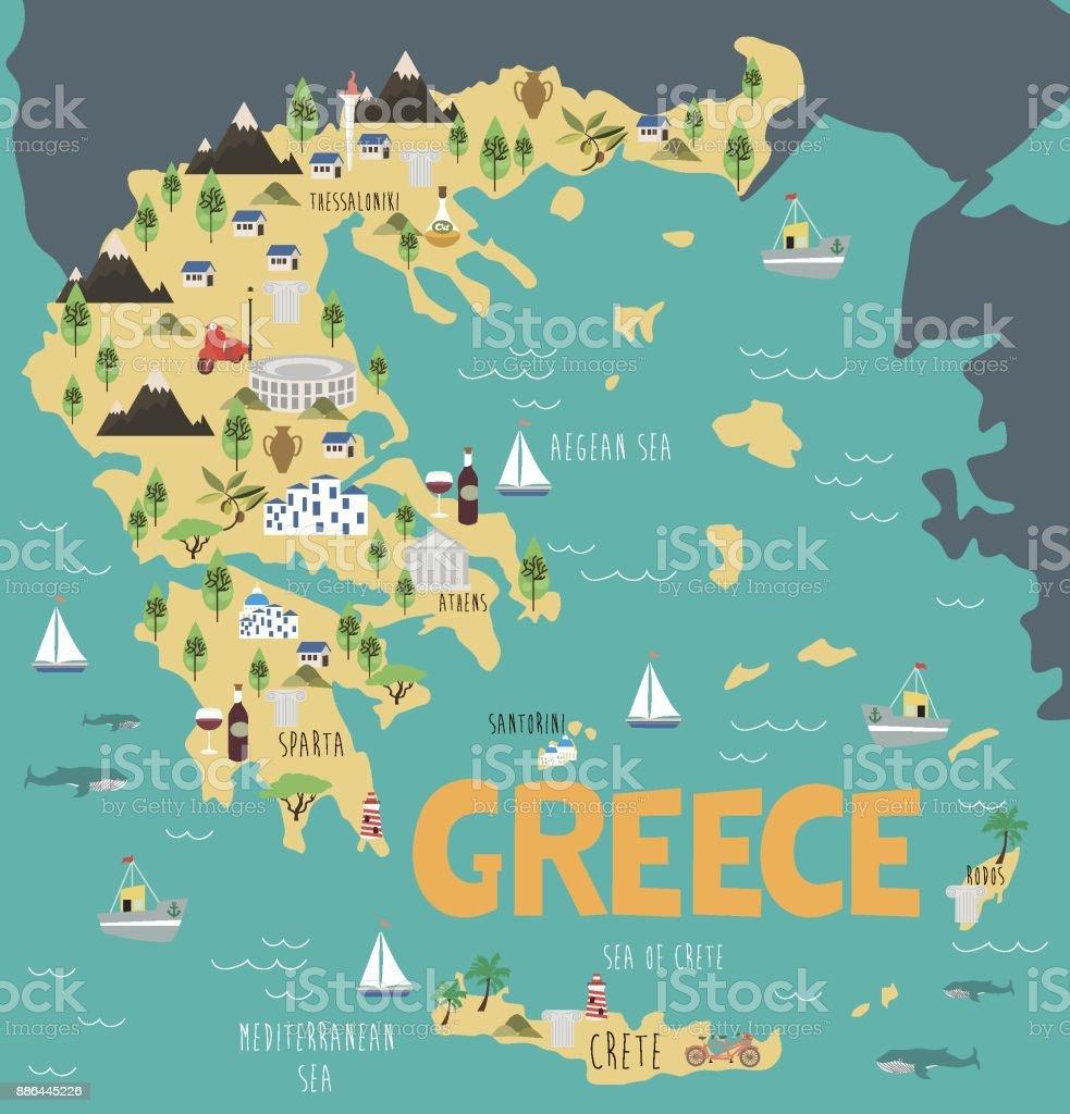 Karte Griechenland.Abbildung Karte Von Griechenland Mit Natur Tiere Und