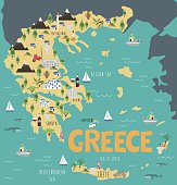 Illustration map of Greece with nature, animals and landmarks