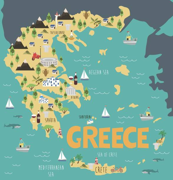 Illustration map of Greece with nature, animals and landmarks vector art illustration