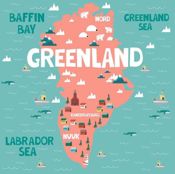 Illustration map of Greenland Illustration map of Greenland with nature, animals and landmarks. Editable Vector illustration greenland stock illustrations