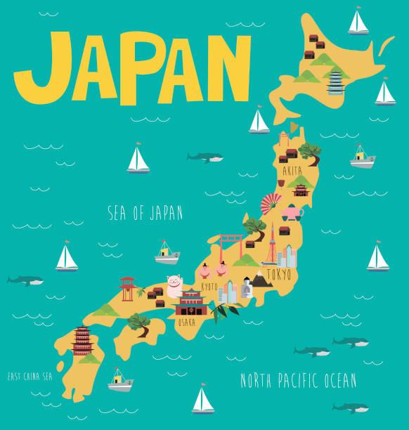 日本のランドマークのイラスト マップ - 日本 地図点のイラスト素材/クリップアート素材/マンガ素材/アイコン素材