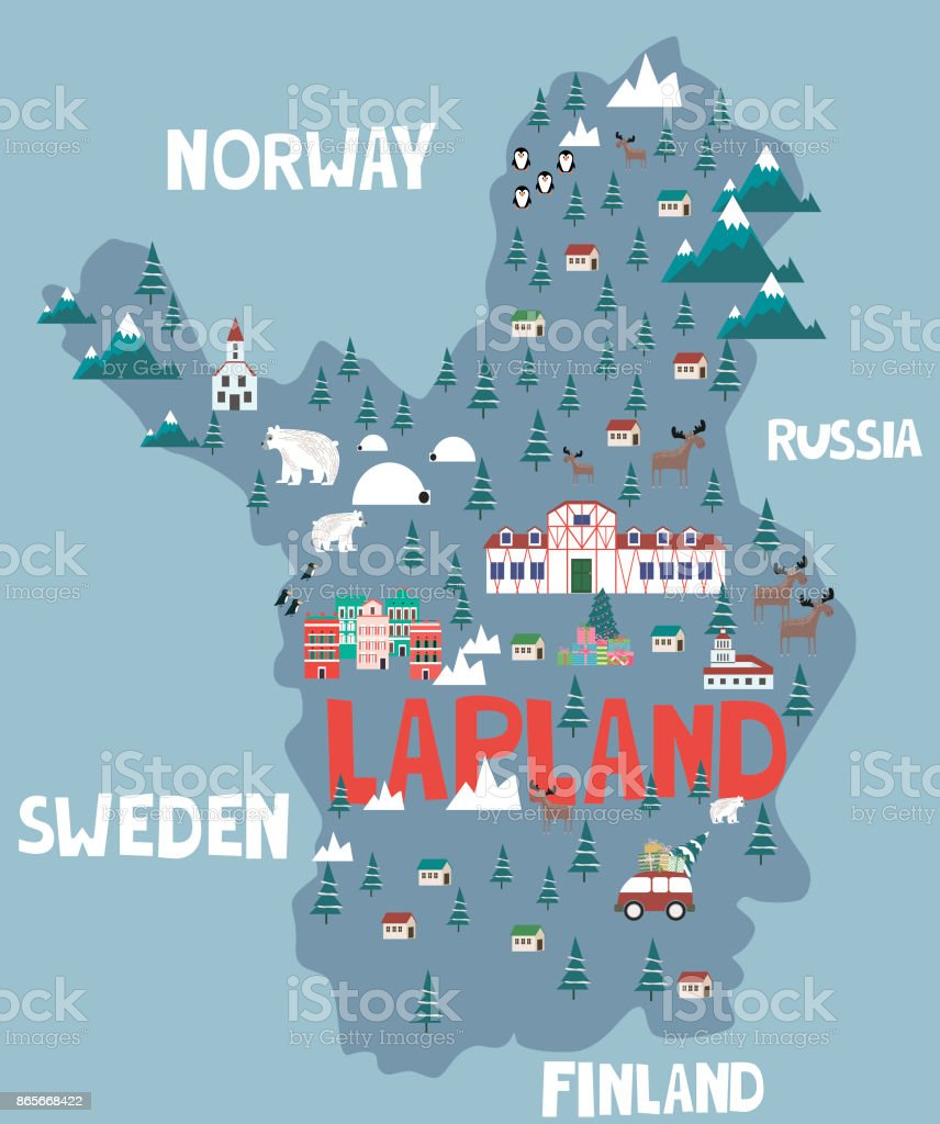 lappland karte Abbildung Karte Von Lappland Stock Vektor Art und mehr Bilder von