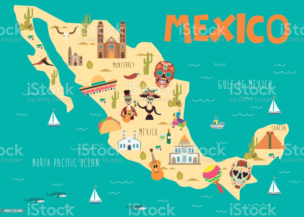Illustration Map Of Mexico With Landmarks Stock Vector Art More