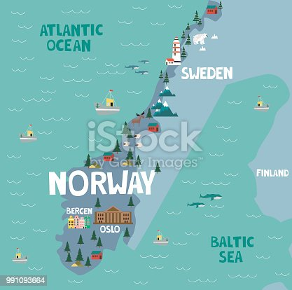 Illustration map of Norway with nature, animals and landmarks. Editable Vector illustration