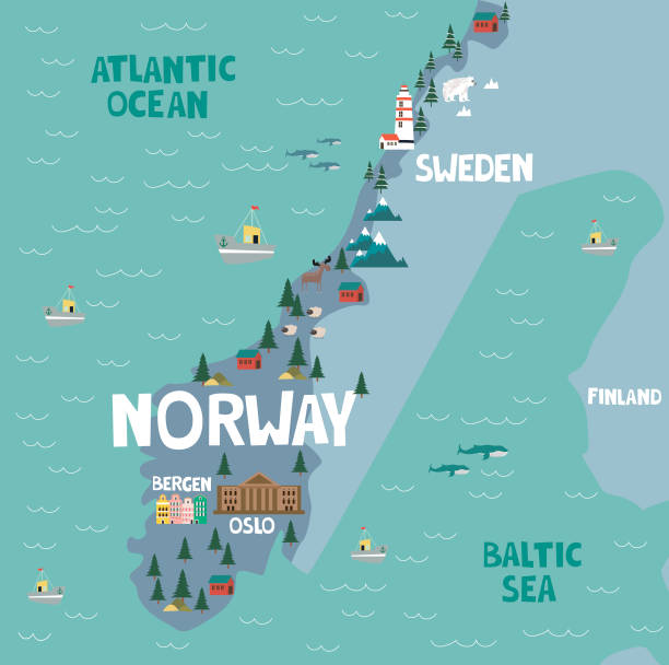 Illustration map of Norway Illustration map of Norway with nature, animals and landmarks. Editable Vector illustration norway stock illustrations