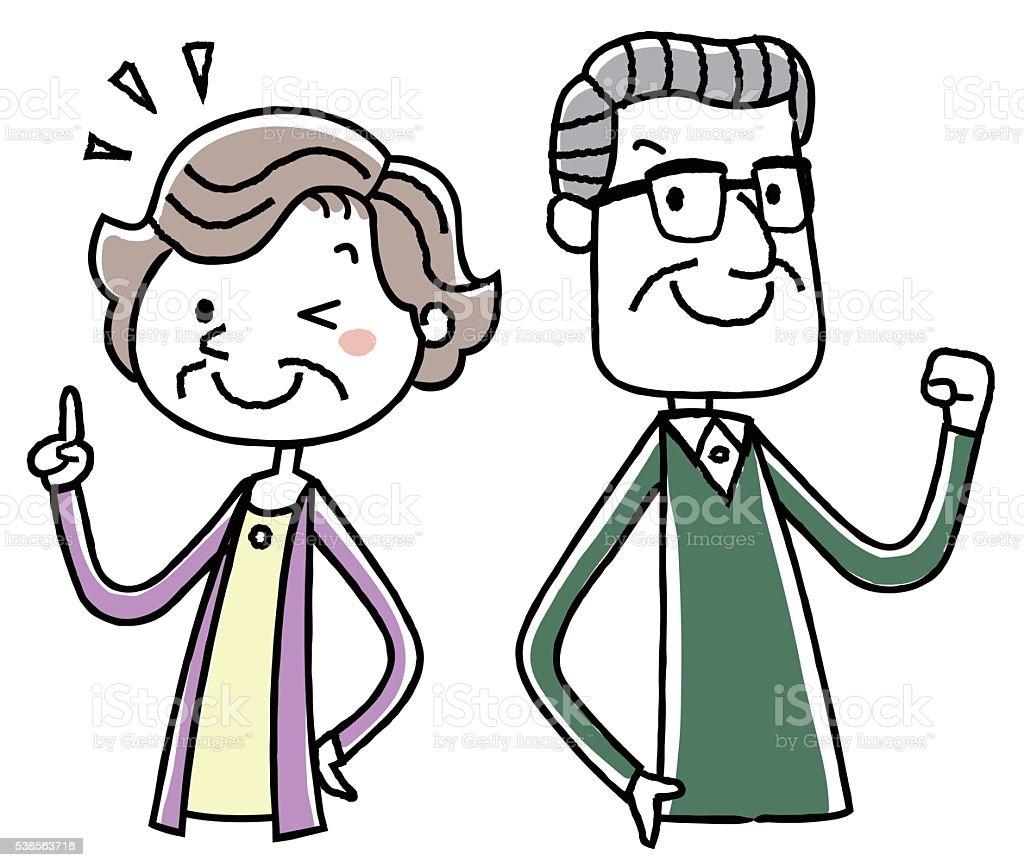 イラスト素材年配のカップルやる気のポーズ - アクティブシニアの