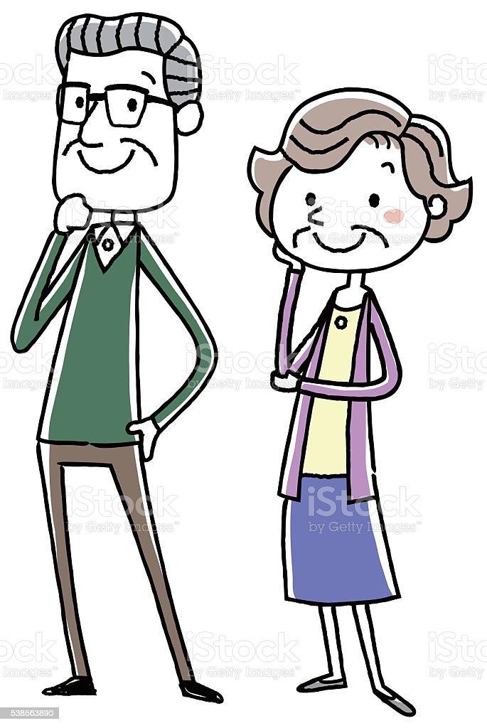 イラスト素材年配のカップル一時停止 アクティブシニアのベクター