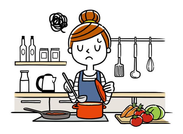 ilustrações de stock, clip art, desenhos animados e ícones de illustration material: housewife, cooking - fail cooking