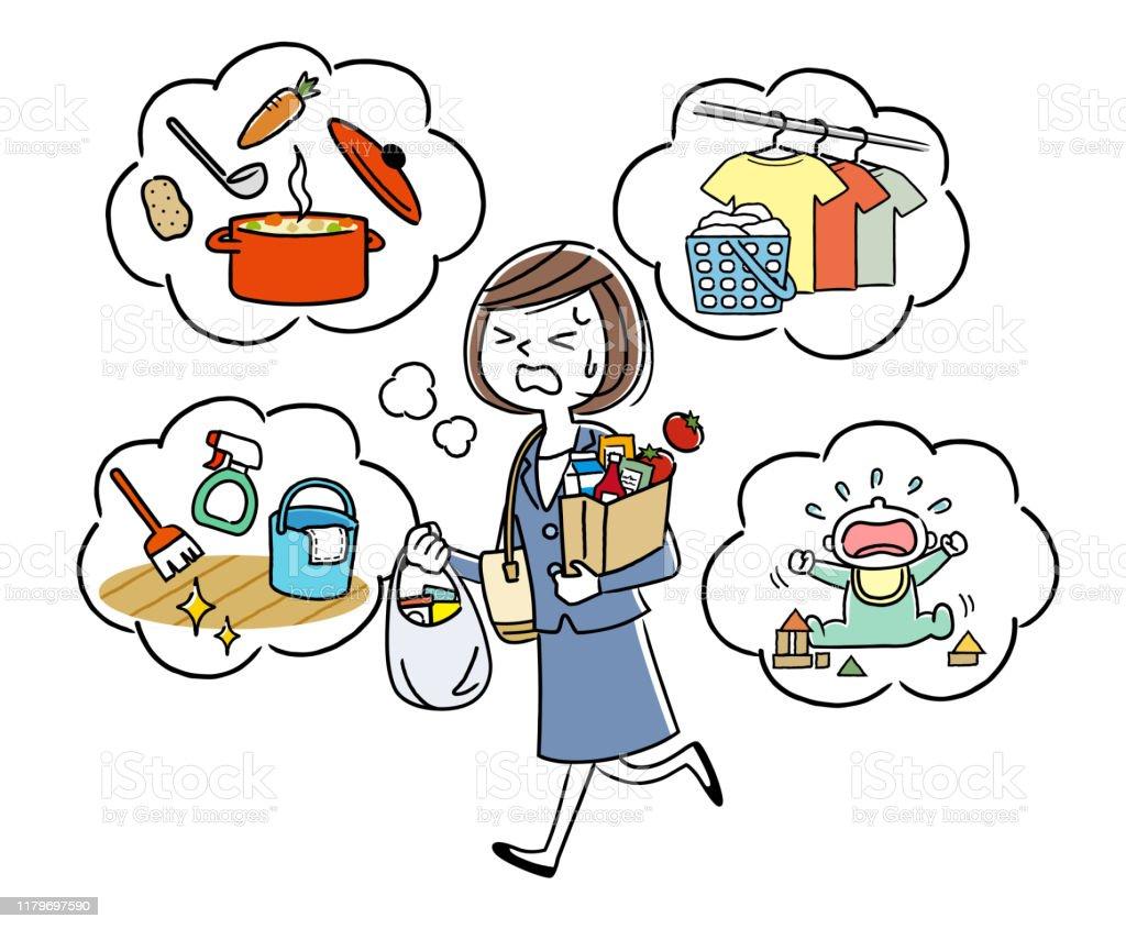 イラスト素材仕事中に家事をする主婦 1人のベクターアート素材や画像を多数ご用意 Istock