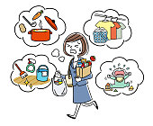 Illustration material: Housewife who does housework while working