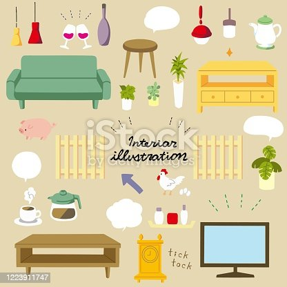 Illustration material of fashionable and cute interior