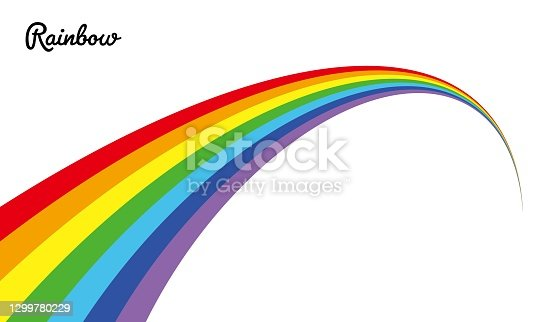 istock Illustration material of the vector of a certain perspective rainbow 1299780229