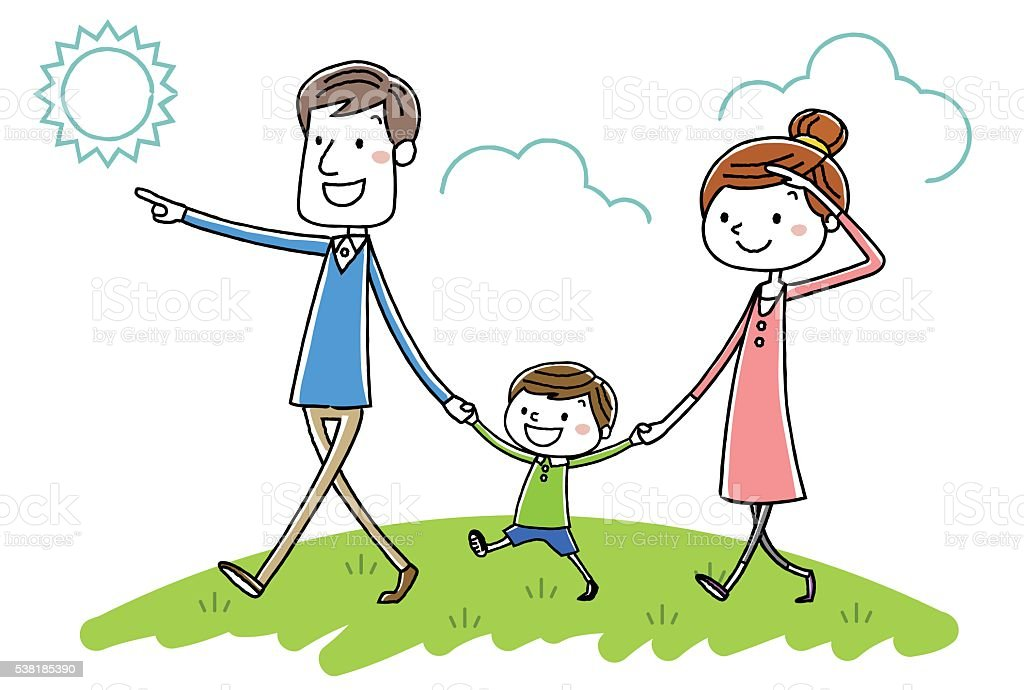 illustration material parent child walk stock vector art Family Picnic Cartoon family picnic clipart pictures