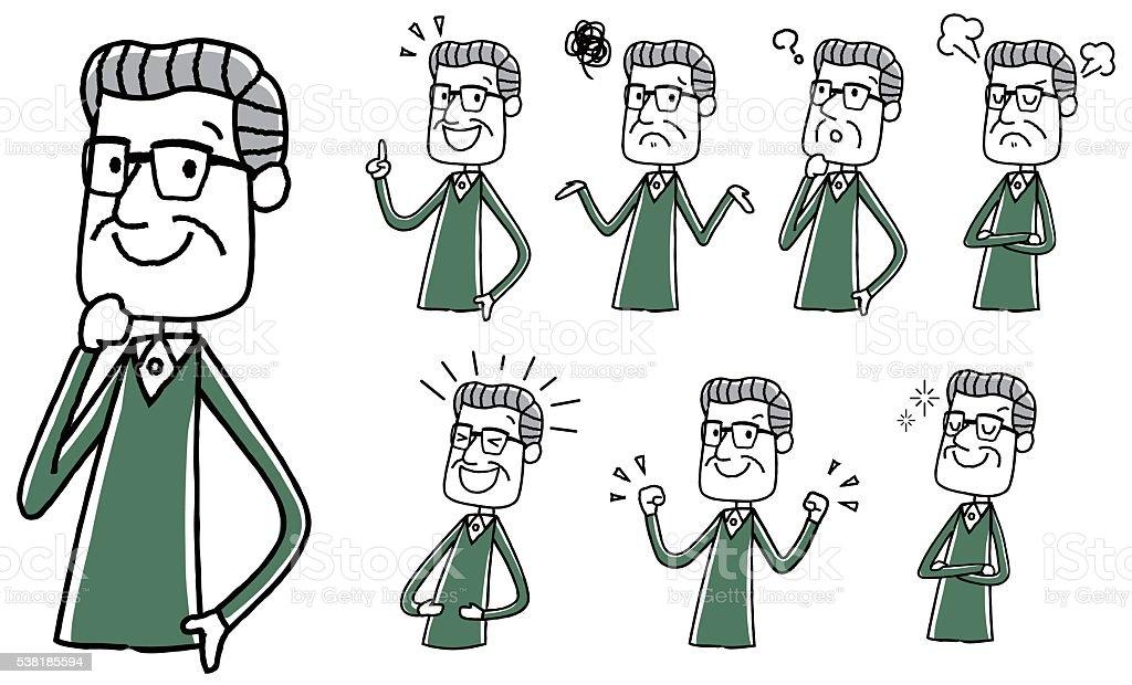 Illustration material: the elderly man variation vector art illustration