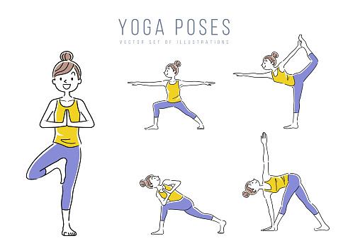 illustration material woman yoga pose set variation stock