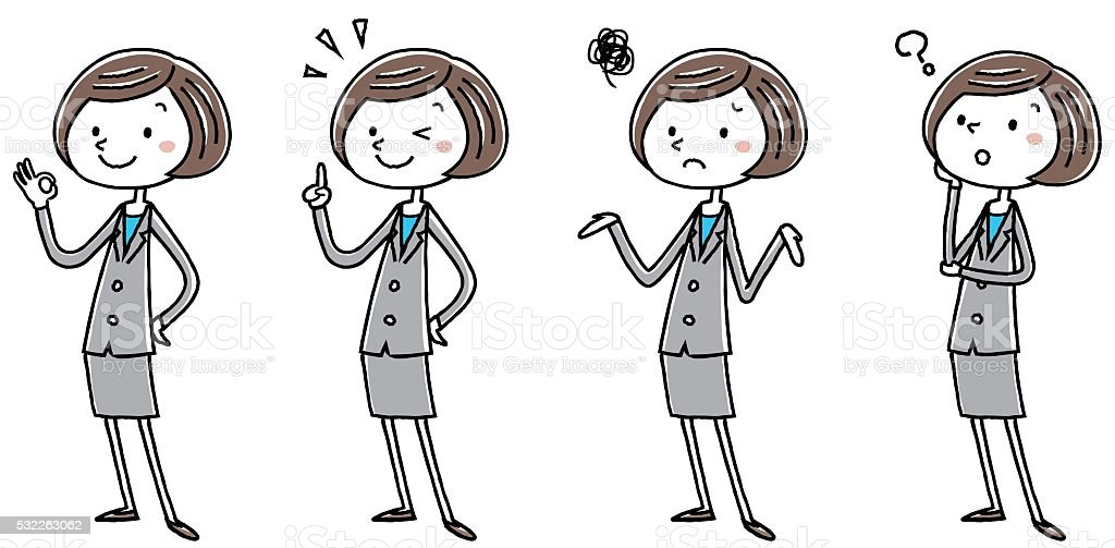 Illustration material: Women pose systemic variations of the business suit vector art illustration