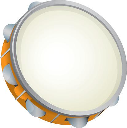 Illustration object musical instrument, tambourine, samba