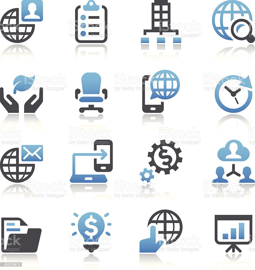 Illustration of 16 simple business vector icons vector art illustration