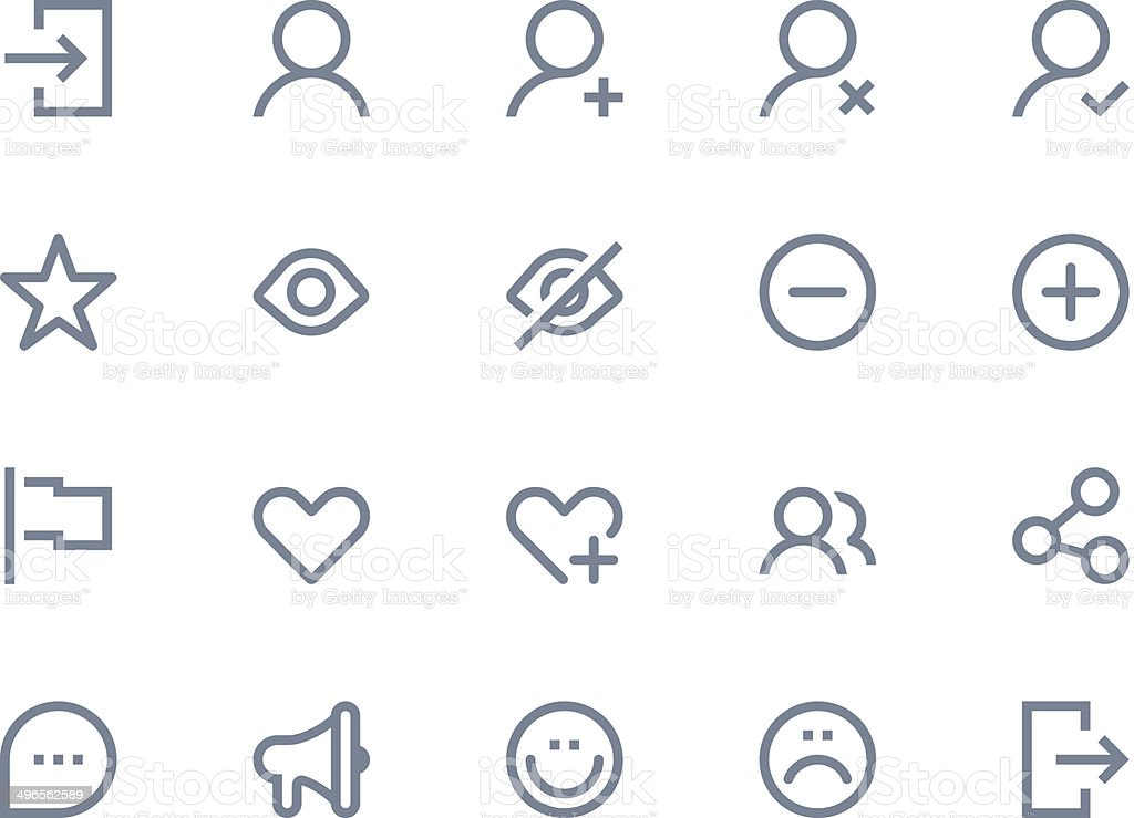 Illustration of 20 light gray communication icons vector art illustration