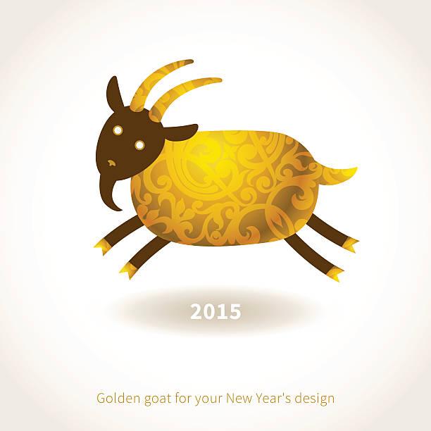 illustration jahr 2015 der ziege. - bergziegen stock-grafiken, -clipart, -cartoons und -symbole