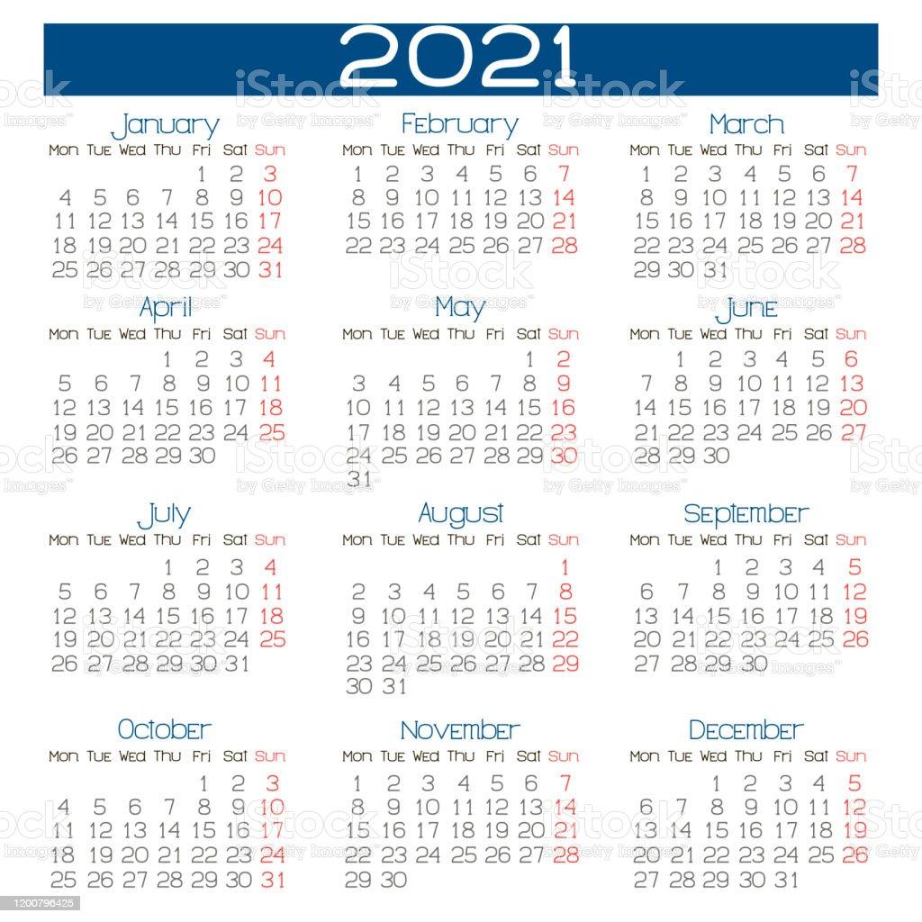 Illustration Of 2021 Year Wall Calendar On English ...