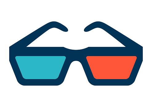 Illustration of 3d glasses for cinema.