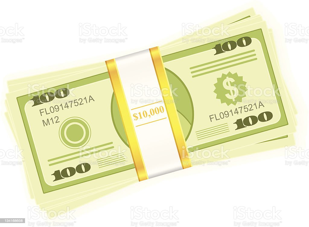 Illustration of a $10,000 dollar stack vector art illustration