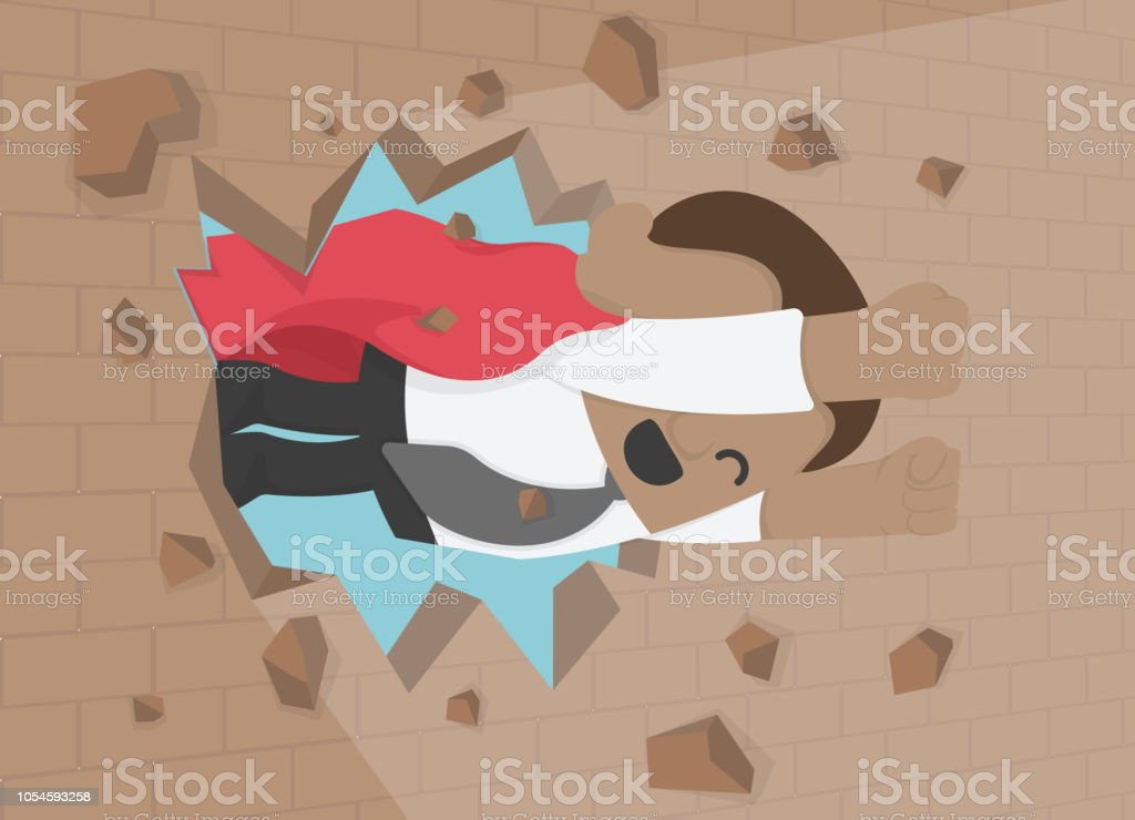 illustration of a African businessman breaking t the wall. Business concept illustration. vector art illustration