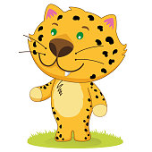 Illustration of a baby leopard, jaguar, mammal, small feline cub. Ideal for educational and informational materials