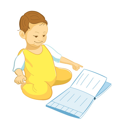 Illustration of a Baby Reading a Book