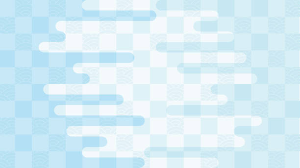illustration of a background in which a continuous pattern of check and ripples and a haze part are overlapped. vector art illustration