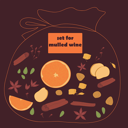 illustration of a bag of spices for mulled wine. set for making hot drinks. spices and herbs for cooking.
