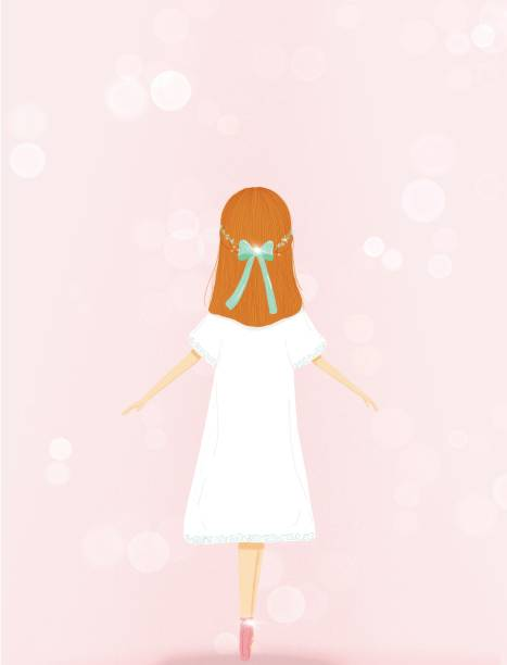 illustration of a ballet dancer girl with pointe shoes over light pink background vector art illustration