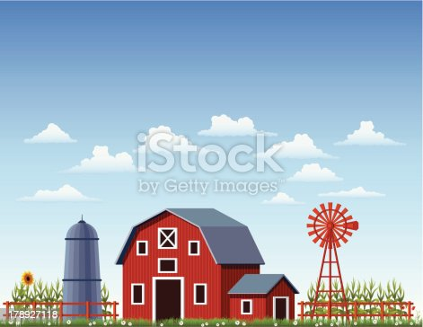 istock A illustration of a barn at a farm 178927118