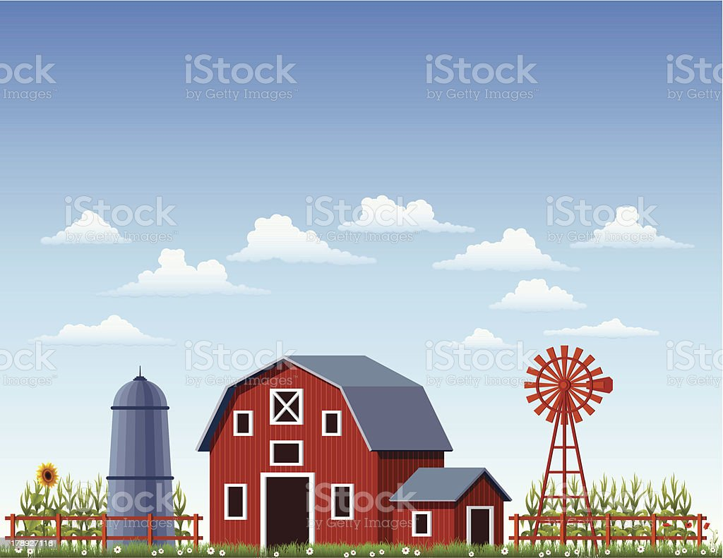 A illustration of a barn at a farm vector art illustration