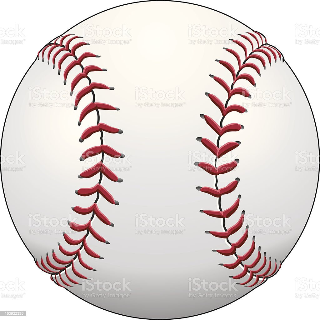 Illustration of a baseball isolated on a white background vector art illustration