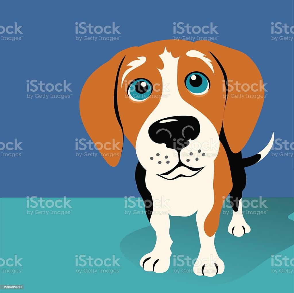 Illustration of a Beagle on blue background with copy space - ilustración de arte vectorial