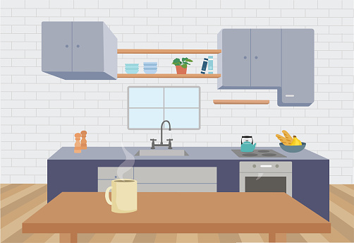 Illustration of a beautiful kitchen at home