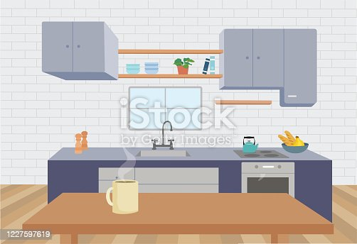 istock Illustration of a beautiful kitchen at home 1227597619