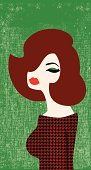 A retro illustration of a red head. On layers for easy editing.