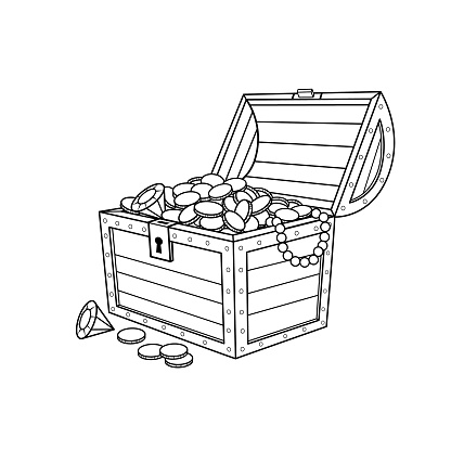 Illustration of a black and white treasure chest full of gold coin into a white background for assembling or creating teaching materials for moms doing homeschooling and teachers searching for pictures for teaching.