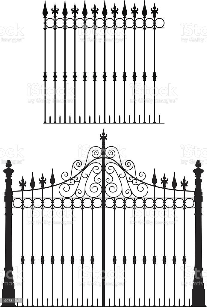 Illustration of a black metal fence and gate with designs vector art illustration