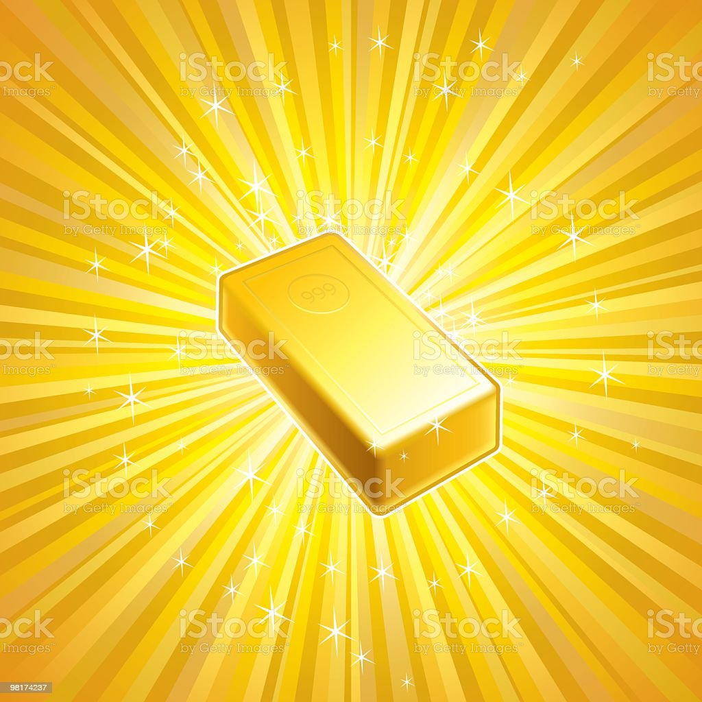 Illustration of a block of gold with white sparks around it royalty-free illustration of a block of gold with white sparks around it stock vector art & more images of abundance